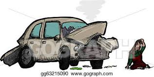 wrecked car clipart vector stock woman and wrecked car clipart illustration