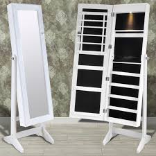 Jewelry Cabinet Mirror White Free Standing Jewelry Cabinet With Led Light And Mirror
