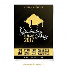 graduation poster graduation party poster with gold details vector free