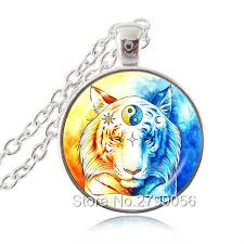 yin yang tiger necklace nature big cat pendant sun and moon ji