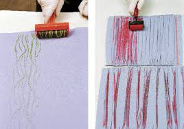 Textured Roller Paint - fabric printing with a brayer threads
