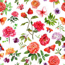 Roses And Butterflies - vintage watercolor roses and butterflies seamless pattern stock