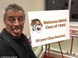 matt leblanc poses with his classmates during 30 year high