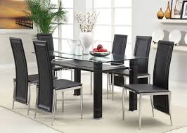 Modern Glass Dining Table Set Riggan Clear Glass Top Dining Table With Black Base By Acme