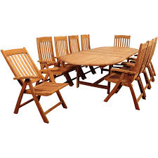 amazonia griffin 10 person teak patio dining set with folding arm
