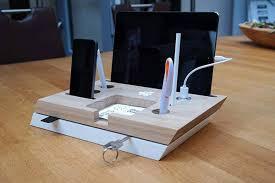 Charging Station Desk Handmade Desk Organizer With Integrated Charging Station Gadgetsin