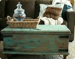 Trunk Coffee Table Aqua Painted Trunk Coffee Table