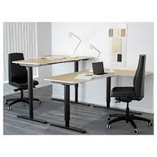 bekant corner desk right sit stand birch veneer black ikea