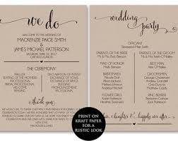 wedding program templates program printable etsy