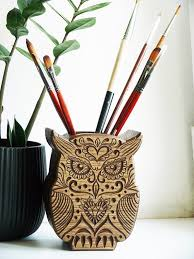 Pencil Holders For Desks Wood Holder For Pen Carved Owl Pen Stand Desk Pencil Stand Owl