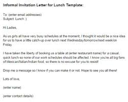 lunch invites informal invitation letter for lunch template just letter templates