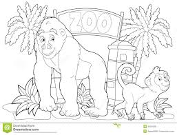 coloring page the zoo illustration for the children royalty