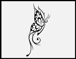 tribal butterfly on right back shoulder