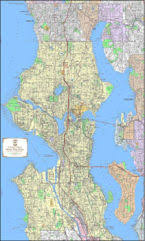 seattle map by county seattle maps maps of seattle flat and folded