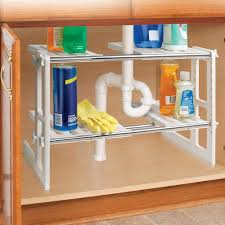 sink kitchen cabinet organizer ideaworks sink shelves 17 64 x 12 x 16 expand to 29 white