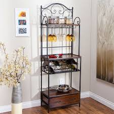 Outdoor Bakers Rack Wrought Iron Sturdy Metal And Wood Bakers Rack With Wine Glass And Bottle