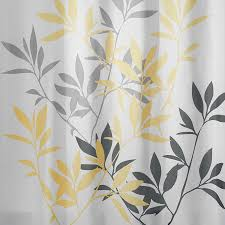 Yellow And Gray Bathroom Accessories by Shop Interdesign Leaves Polyester Yellow And Gray Leaves Patterned