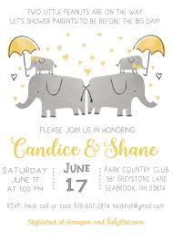 co ed twins baby shower invitation and book card insert elephant