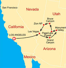 map las vegas and grand 5 day canyons and national parks tour from los angeles fully