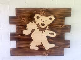 grateful dead dancing bear burned wood sign rustic grateful