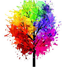 rainbow tree with colour splats prints by arniesart redbubble