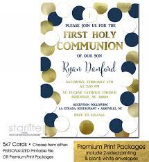 communion invitations boy communion invitation boy navy blue gold polka dots