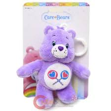 care bears plush doll key chain clip share bear purple