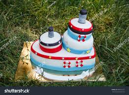 baby s birthday birthday cake marine style decor babys stock photo 686921527