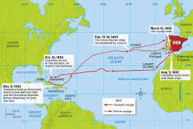 Map Of Christopher Columbus Voyage To America by Challenging Columbus