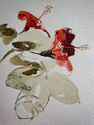 watercolour sketch of hibiscus flowers