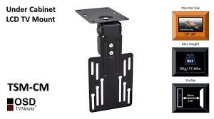 under cabinet tv mount swivel amazon com osd audio tsm cm tilt and swivel under cabinet mount for