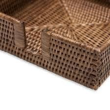 Wicker Paper Plate Holders Wholesale Rattan Luncheon Napkin Holder In Dark Natural 1 Each Caspari