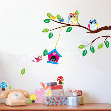 Tree Branch Home Decor Owls Bird Tree Branch 3d Wall Stickers For Kids Room Living Room