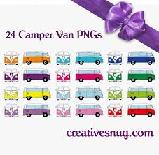 Retro Camper 24 X Retro Vw Camper Van Vector Clipart Instant Downloadable