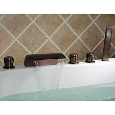 rubbed bronze waterfall widespread bathtub faucet with