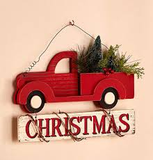 vintage style wall hanging pick up truck christmas sign w