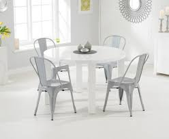 atlanta 120cm white high gloss dining table with tolix industrial