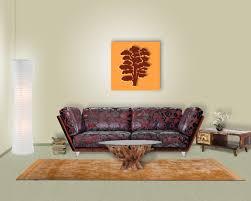 Wohnzimmer Orange Wanddeko Baum Eiche Kiefer Für Moderne Wohnzimmer
