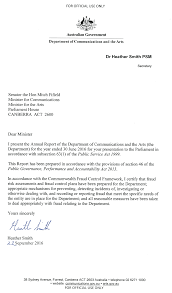 letter of transmittal department of communications and the arts