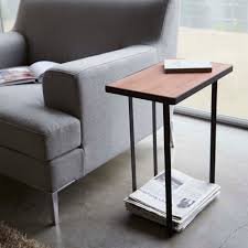 Espresso Side Table Furniture Floor Lamp With Toughened Glass Top Table And Built In