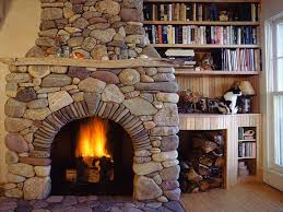 french white bookcase log cabin stone fireplace rustic stone