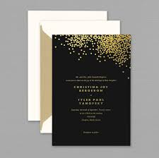 and black wedding invitations vera wang gold confetti engraved black wedding invitation