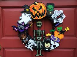 Halloween Wreathes Perler Bead Halloween Wreath Perler Bead Projects Pinterest