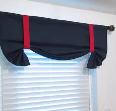 nautical tie up valance solid navy u0026 red lined curtain