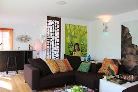 hanging room dividers living room midcentury with colorful pillows