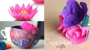 3 easy crepe paper crafts youtube
