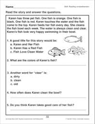 karen and her fish reading passage and comprehension questions