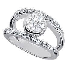 split band engagement rings 0 77 carat bezel set split band engagement ring