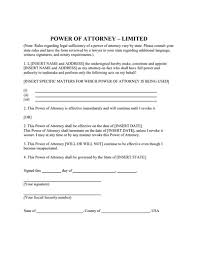 power of authority template limited power of attorney form create fill print