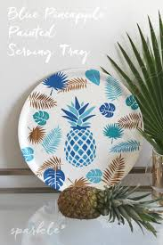 painted serving platters blue pineapple painted serving tray sparkle living